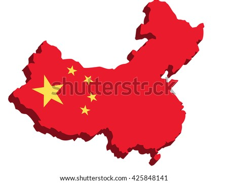 A map of China 3D with flag on white background