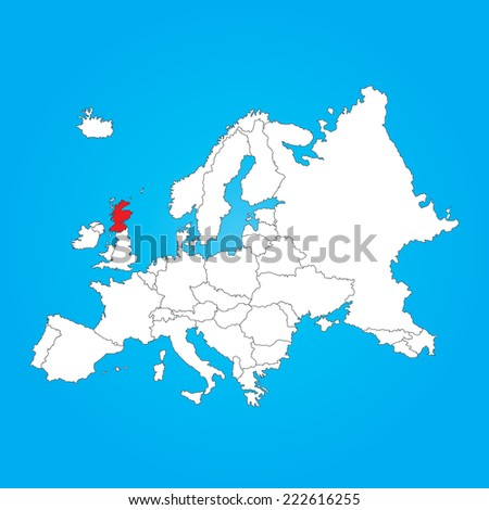 A Map of Europe with a selected country ofScotland - stock vector