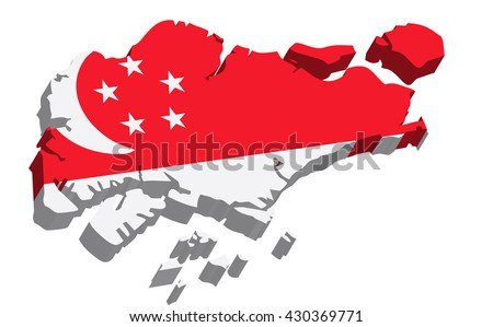 A map of Singapore 3D on white background - stock vector