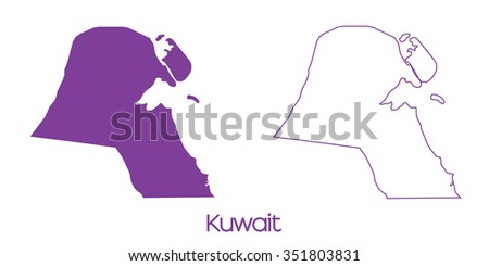 A Map of the country of Kuwait - stock vector