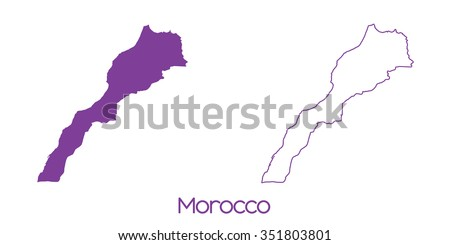 A Map of the country of Morocco - stock vector
