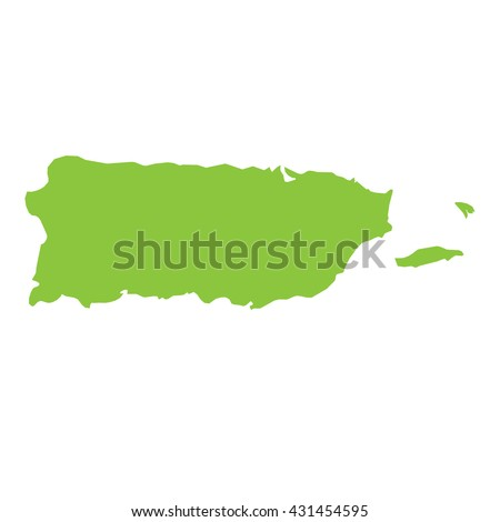 A Map of the country of Puerto Rico - stock vector