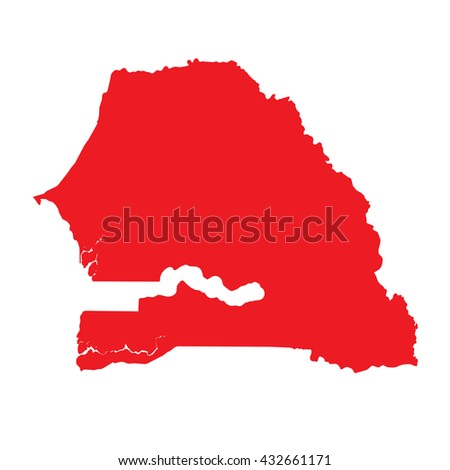 A Map of the country of Senegal - stock vector