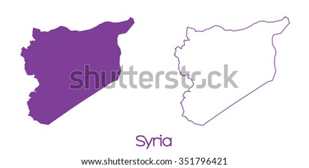 A Map of the country of Syria - stock vector