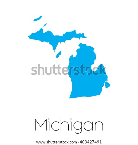 A Map of the the state Michigan - stock vector