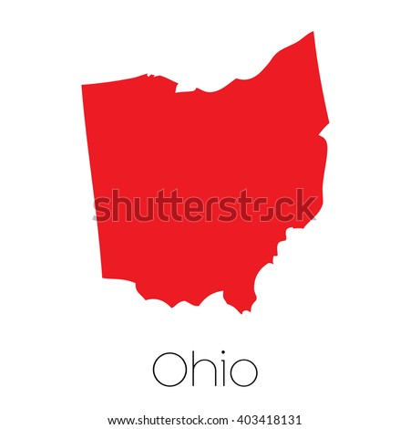 A Map of the the state Ohio - stock vector