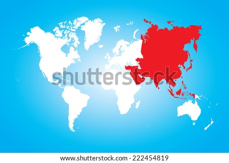 A Map of the world with a selected continent of Asia - stock vector
