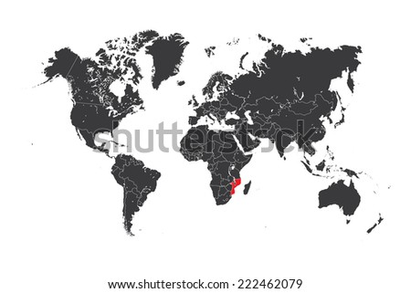 A Map of the world with a selected country of Mozambique - stock vector