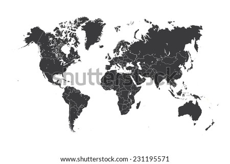 A Map of the world with a selected country of Solomon Islands - stock vector