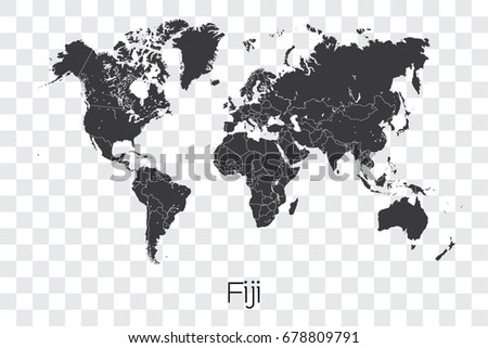 Map world selected country fiji stock vector 678809791 shutterstock a map of the world with the selected country of fiji gumiabroncs Image collections