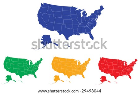 A map of USA with separable borders and modifiable colors in vector art. - stock vector
