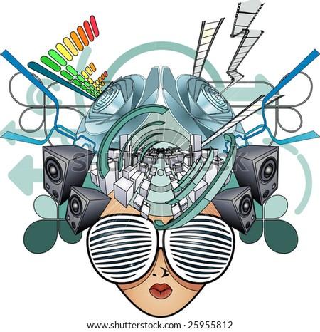 A media head abstract illustration - stock vector