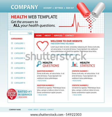 A medical, health internet website template with pills and a heartbeat pulse in the header. Add your text to the navigation and buttons. Use the layout for a hospital, health care or pharmacy theme.