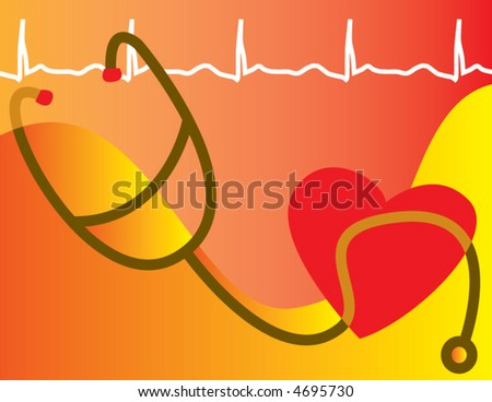 A medical heart healthy scene is depicted in abstraction - stock vector