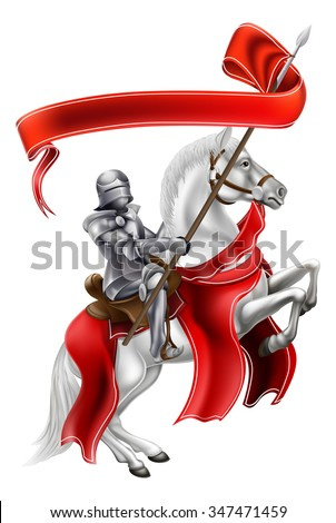 A medieval knight on the back of a rearing white horse holding a banner - stock vector