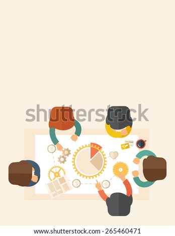 A meeting  of a business people sitting facing each other in the office with coffee and papers on the table in front of them. Sharing and gathering ideas for their marketing plan. Teamwork concept.  - stock vector