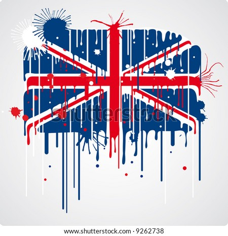 a melting and splatter union jack flag with drops and stains - stock vector