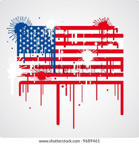 a melting and splatter USA flag with drops and stains - stock vector