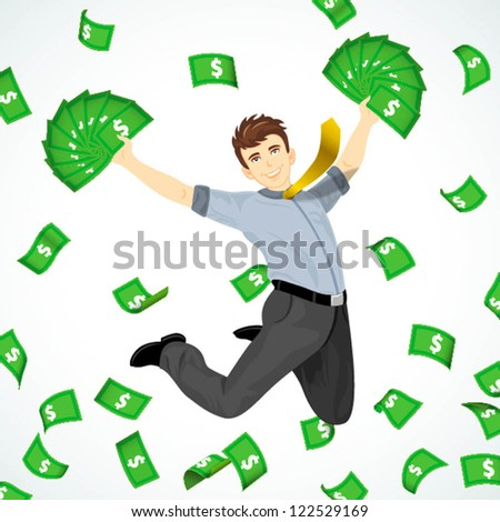 a men jumping in group of flowing cash - stock vector