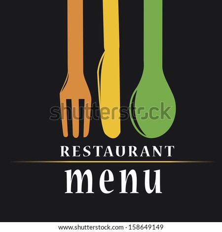 a menu design with some colored utensils and text - stock vector