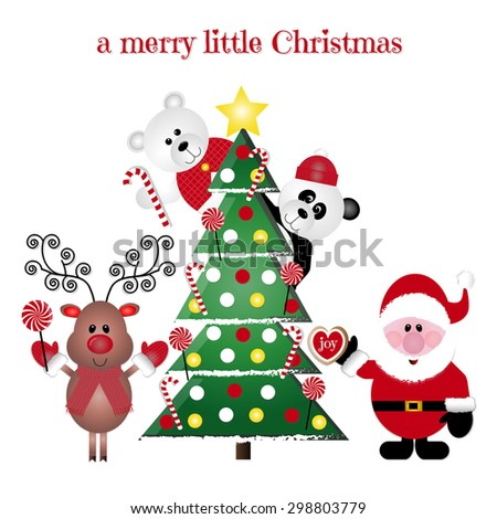 A Merry Little Christmas Christmas Characters Set - stock vector