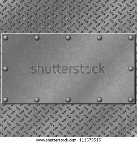 A Metal Background with Tread Plate and Rivets - stock vector