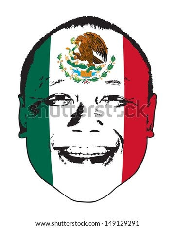 A Mexico flag on a face, isolated against white.  - stock vector