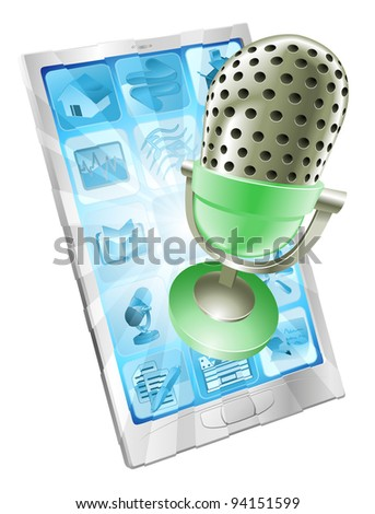 A microphone flying out of phone screen. Concept for anything relating to online or computer recordings or music - stock vector