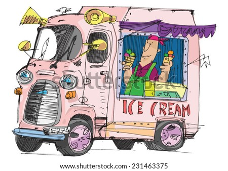 a mobile cafe with ice cream - cartoon - stock vector