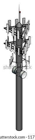 A mobile / cellular phone tower with three antennae arrays and 2 line of sight dishes.