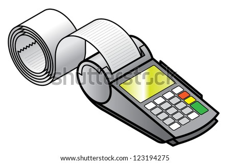 A mobile hand-held point of sale pin pad / terminal  printing a long receipt. - stock vector