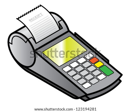A mobile hand-held point of sale pin pad / terminal printing a receipt. - stock vector