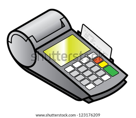 A mobile hand-held point of sale pin pad / terminal with a card in the swipe slot. - stock vector