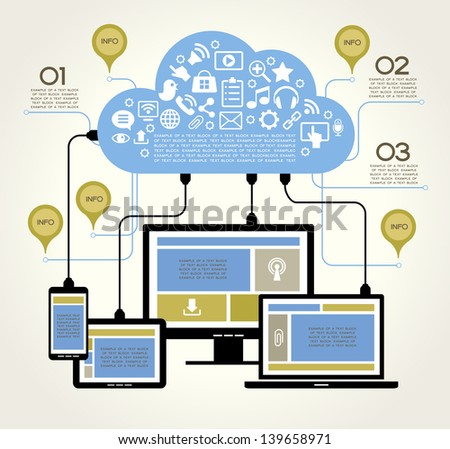 A modern set of infographics and icons Social Media. Abstract infographics design. Social network, communication in the global computer networks. laptop phone tablet  Connection. - stock vector