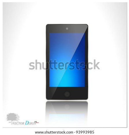 A modern smart phone for mobile communication with blue screen. Vector illustration. - stock vector