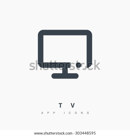 a modern TV line vector icon for web and app mobile minimalistic flat design - stock vector