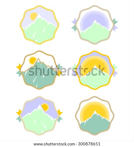 A modern vector logos set with mountain Ben Nevis on it isolated on white. - stock vector
