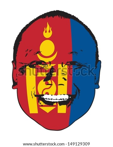 A Mongolia flag on a face, isolated against white.  - stock vector