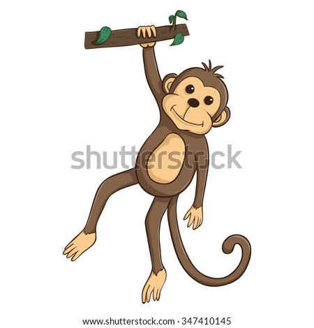 A Monkey Hanging On The Tree Trunk With Cute Face - stock vector