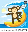 A Monkey surfing on a banana and say delicious in japan, Vector - stock vector