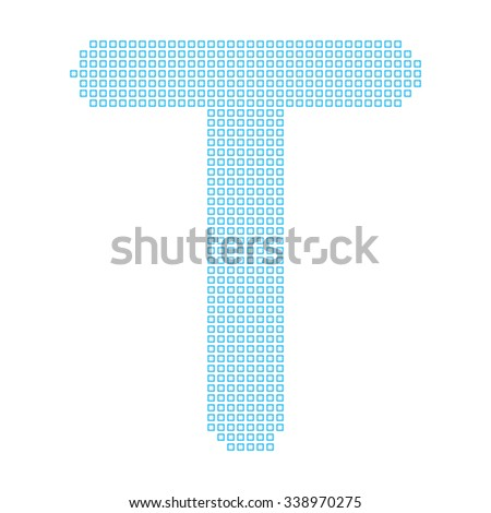 A Mosaic Icon Isolated on a White Background - T