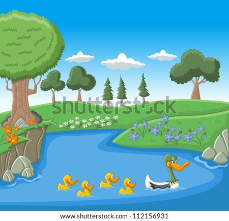 A mother duck swimming with her ducklings on blue lake - stock vector