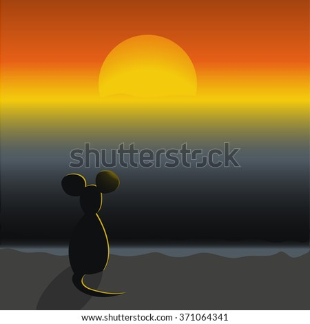 A mouse sitting on a beach and looking at the sunset. Vector illustration - stock vector