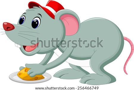A mouse take cheese on a plate - stock vector