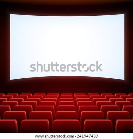 A movie theater stage with red seats, EPS 10 contains transparency and mesh. - stock vector