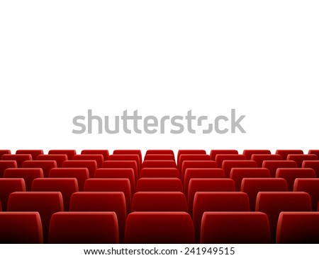 A movie theater stage with row of red seats, EPS 10 contains transparency and mesh. - stock vector