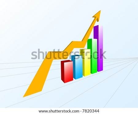 A multi-color bar chart with yellow arrow sign. - stock vector