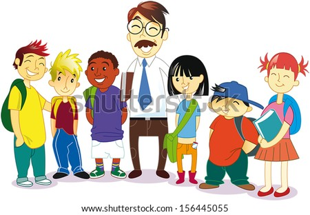 a multi-ethnic group of students with backpacks and books laughing in the company of a professor. - stock vector