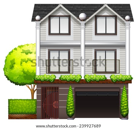 A multi-story building on a white background - stock vector
