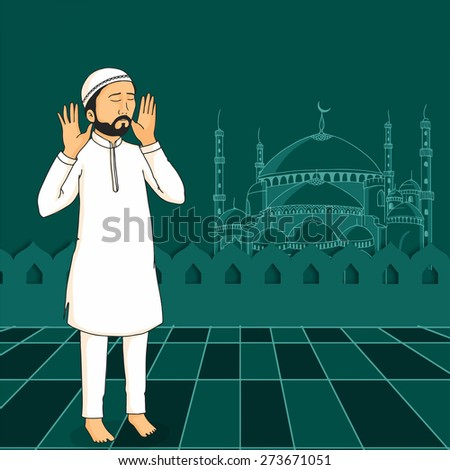 A Muslim man praying (reading Namaz, Islamic Prayer) on Mosque decorated green background for holy month Ramadan Kareem celebration. - stock vector